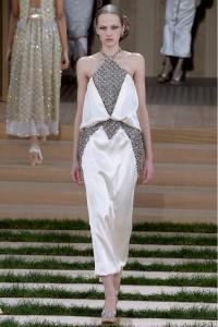 Chanel vestido blanco plata midi París
