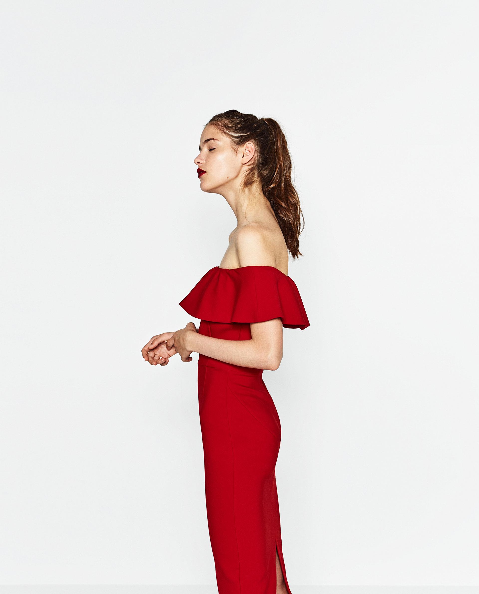 vestido volante rojo zara invitada boda