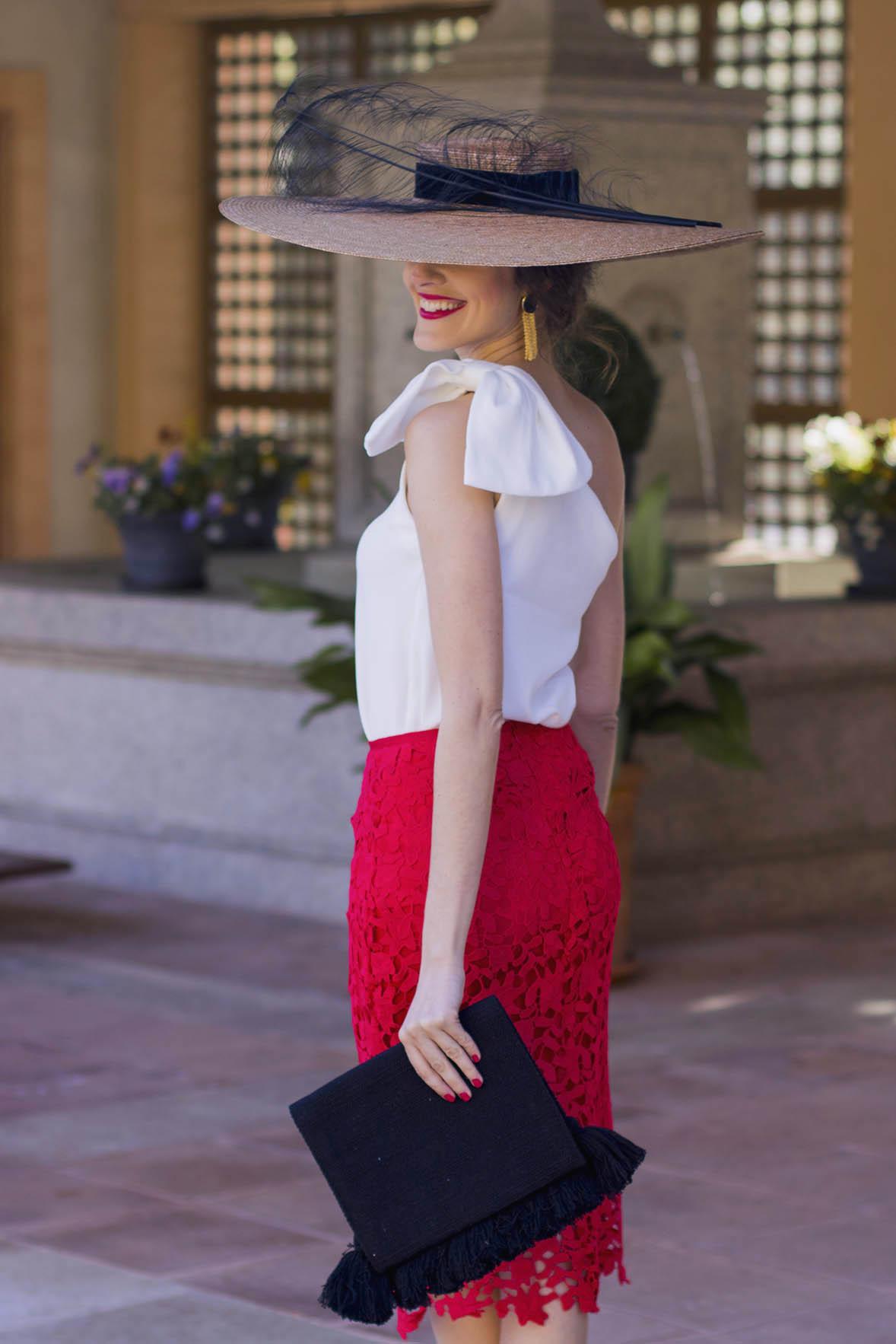 Conjunto falda tubo encaje top blanco pamela