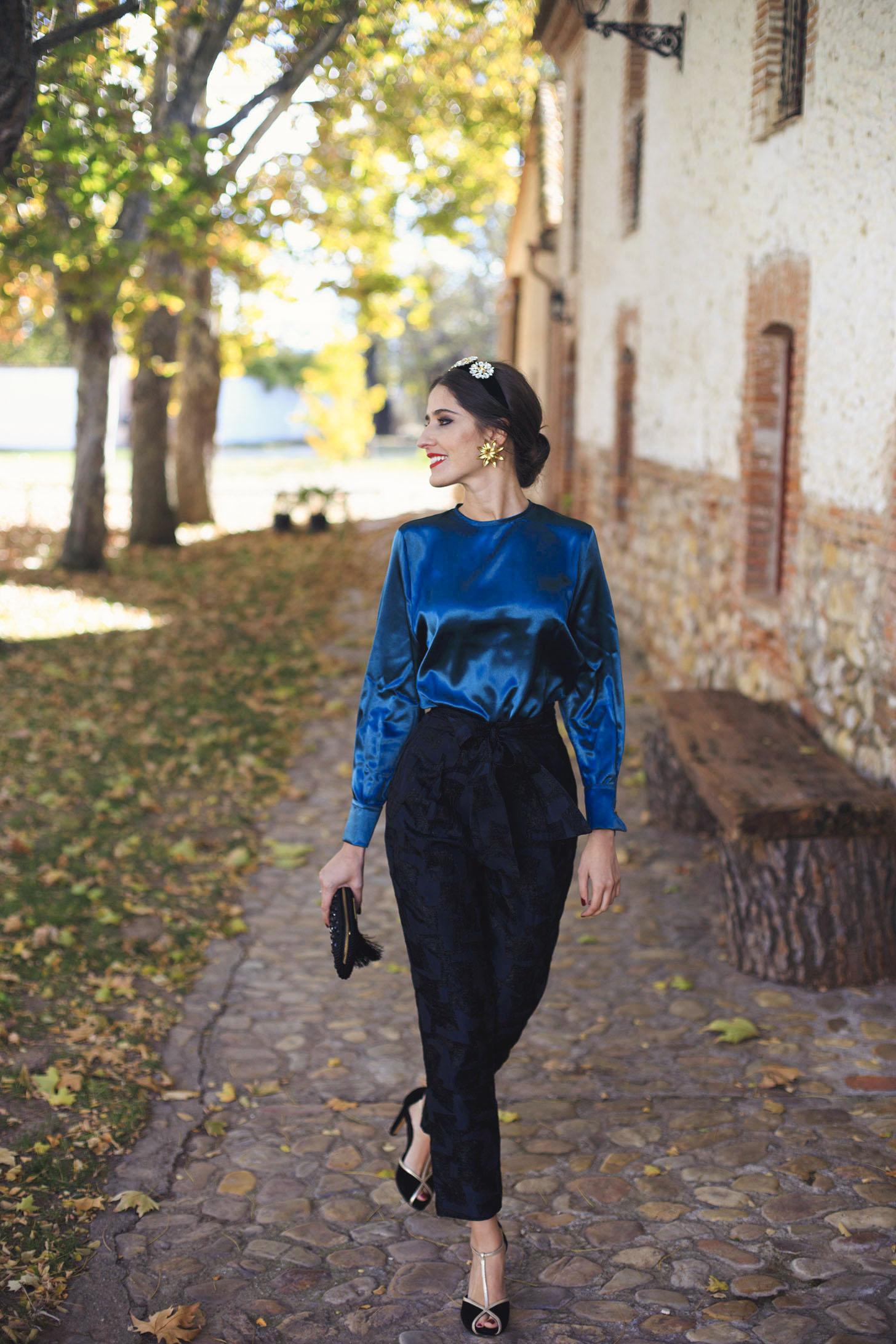 Look pantalon cena navidad bautizo comuniones blusa