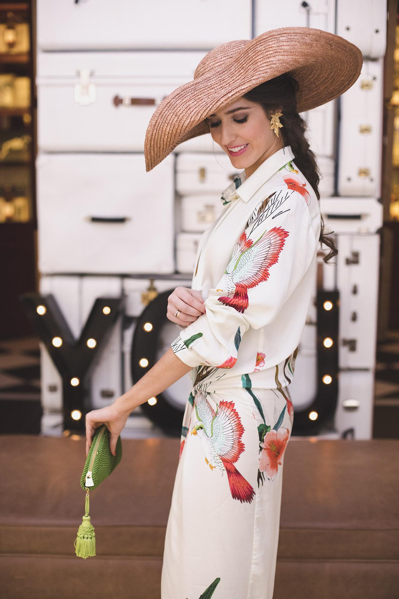 Look invitada boda comunion bautizo vestido camisero lactancia pamela tranza novia
