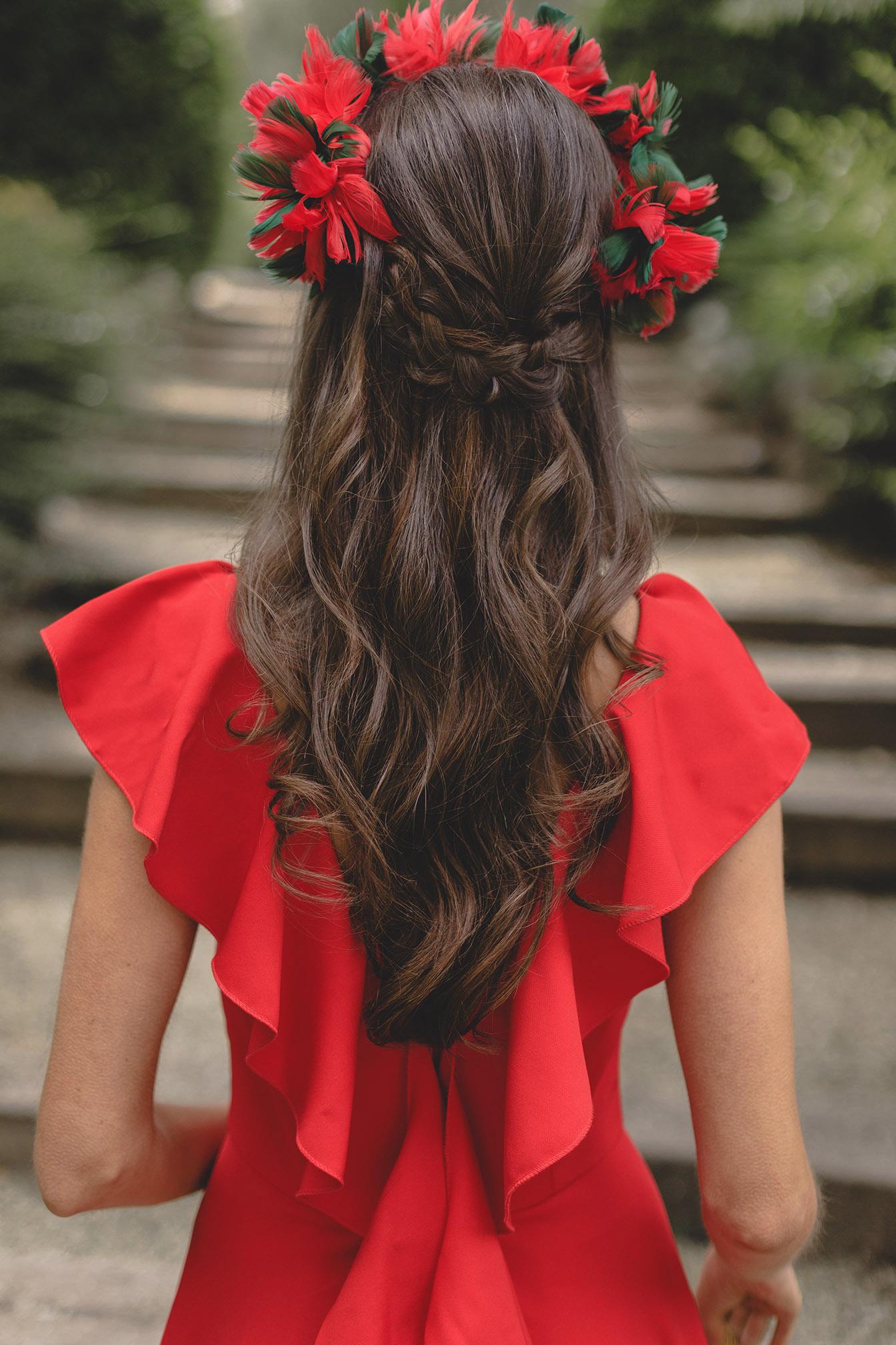 semirecogido peinado 2018 suelto ondas invitada novia trenza
