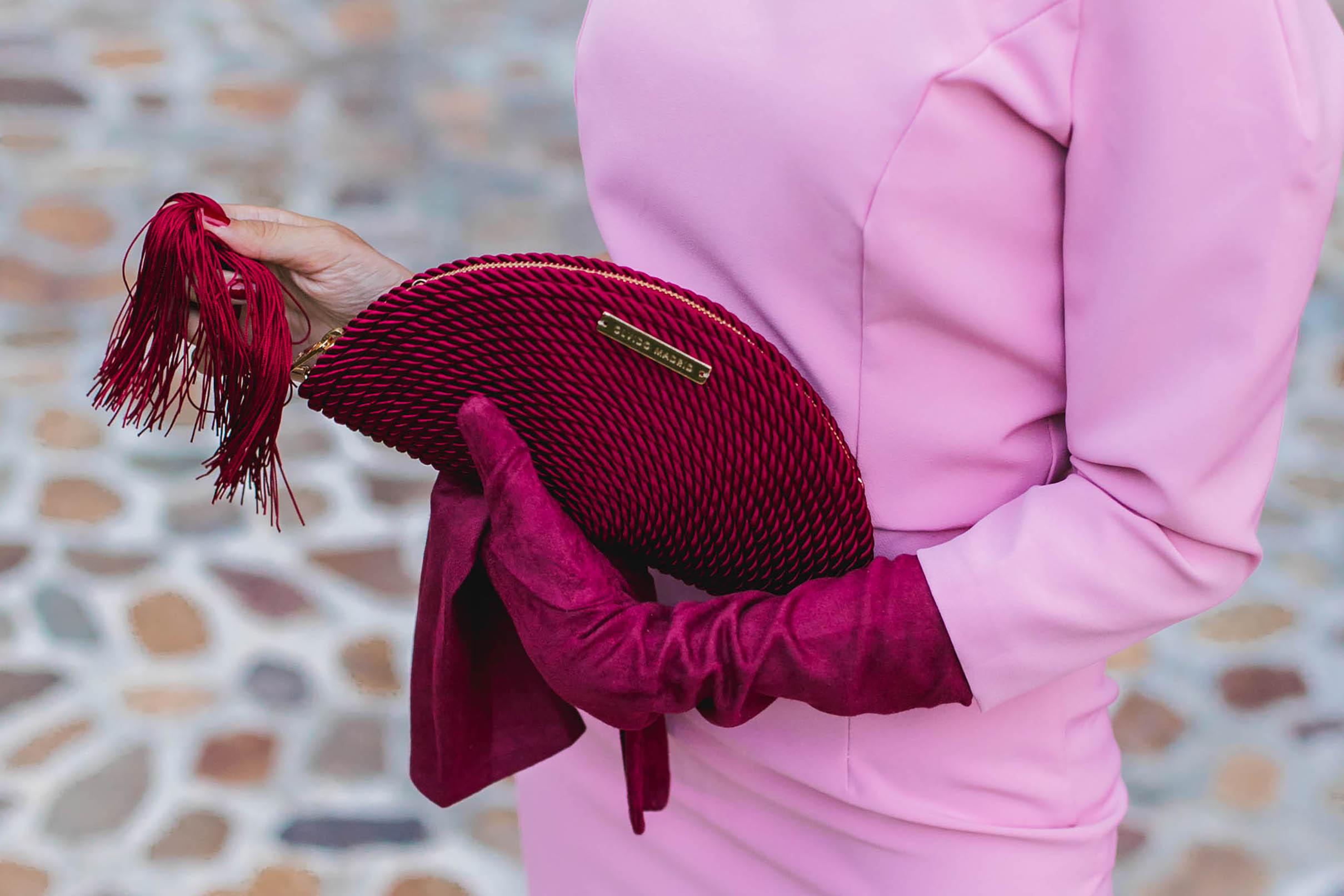 Bolso fiesta color vino granate invitada olvido madrid