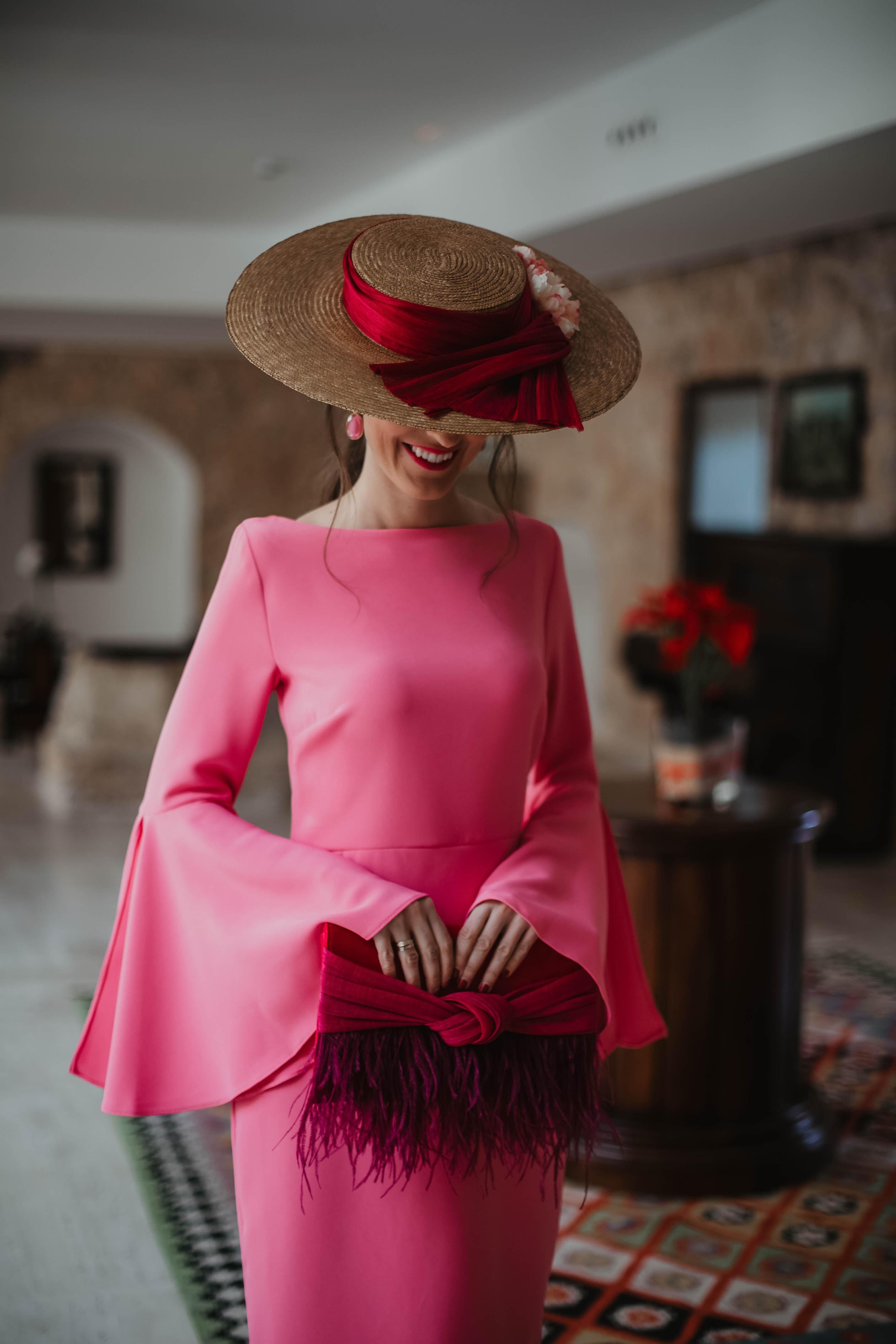 Vestido rosa de Poete de mangas acampanadas -9