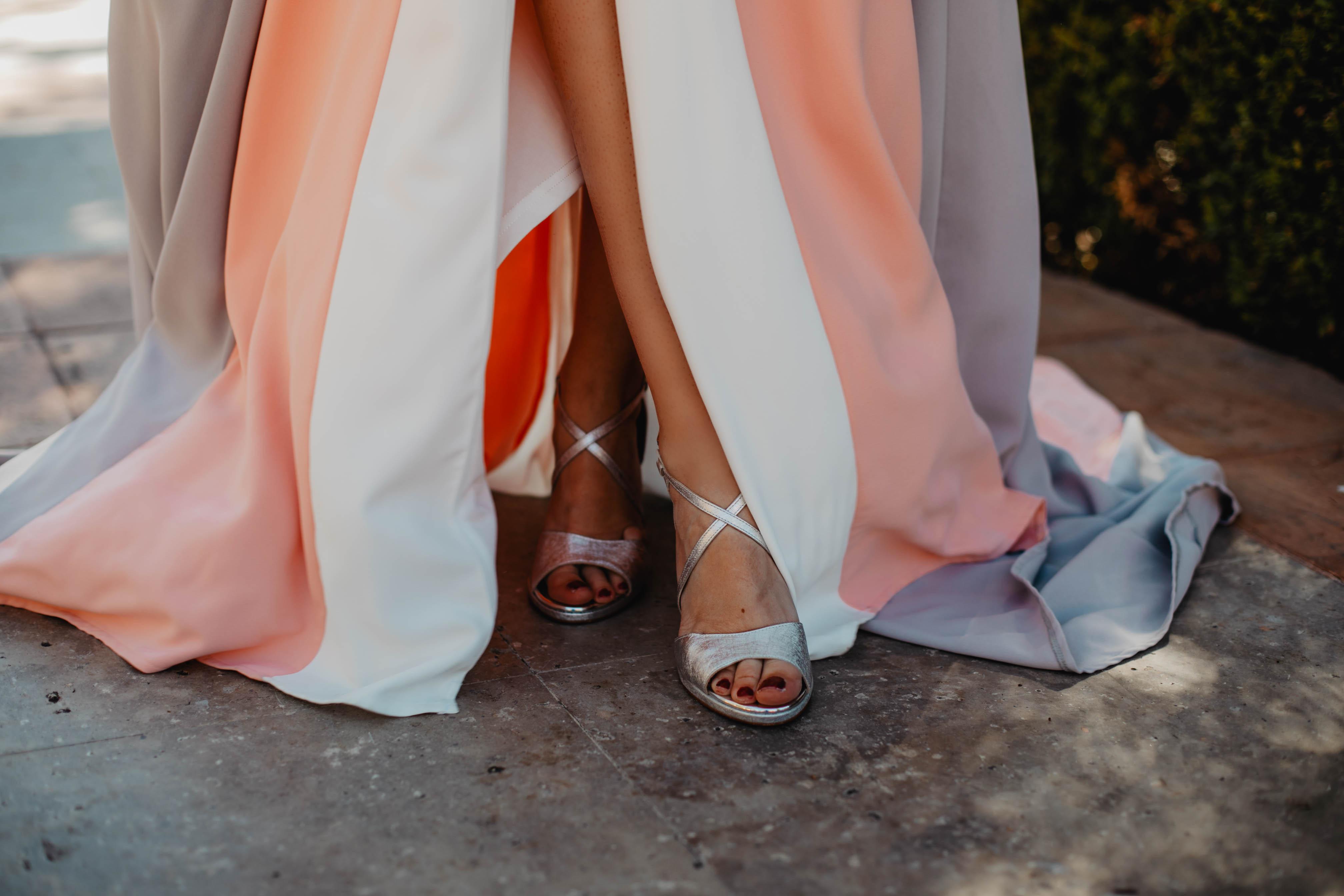 Sandalias plata invitada novia