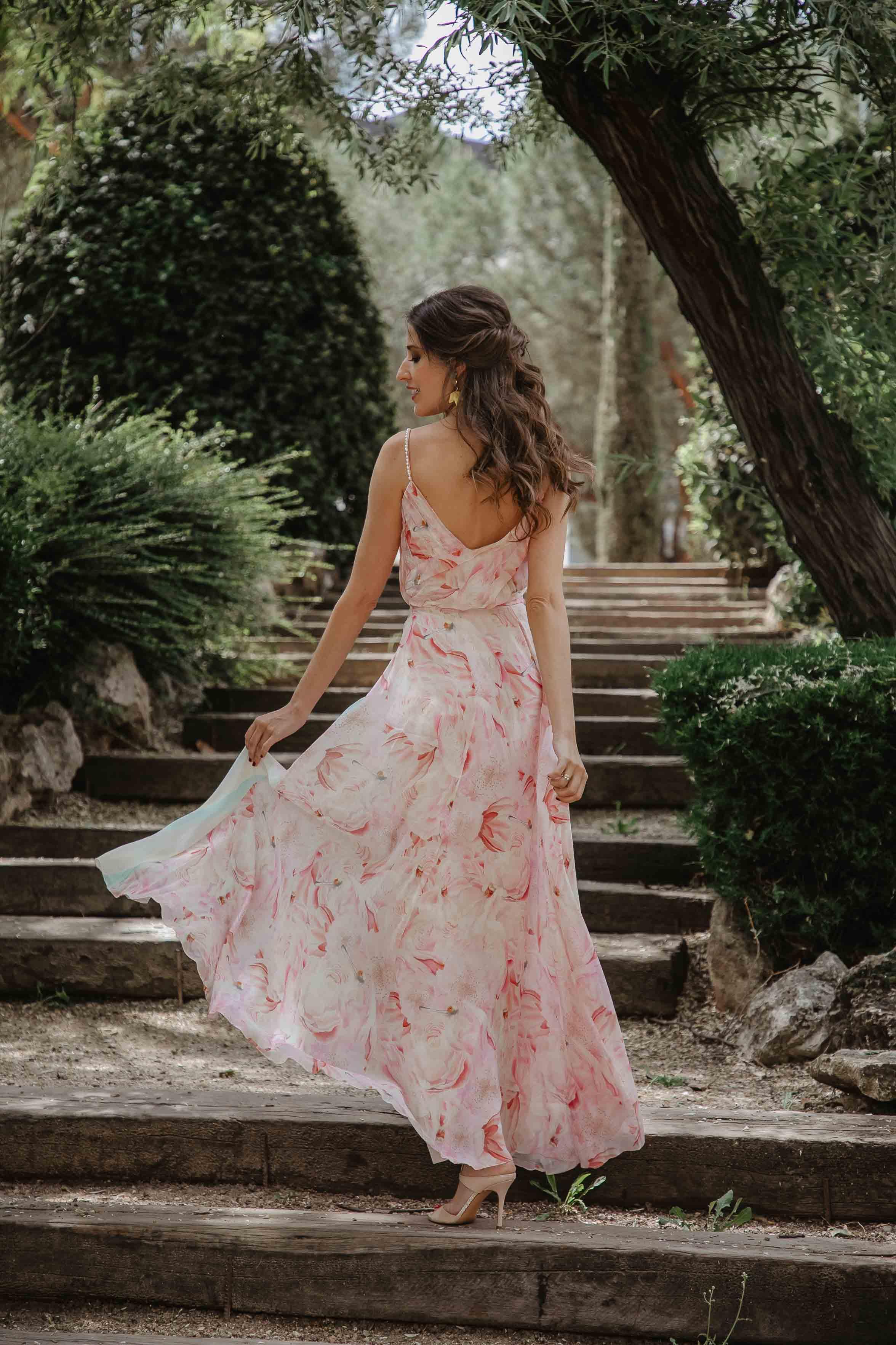 Vestido estampado largo invitada boda