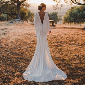 Vestido novia escote espalda García Forcada
