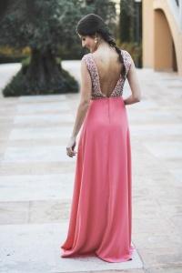 Vestido largo espalda abierta coral