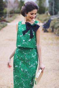Vestido verde falda crop top invitada verde