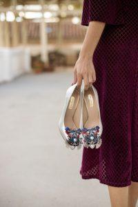Zapatos plata nochevieja invitada boda novia