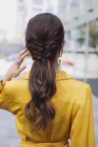LSemirecogido coleta peinado novia invitada trenza