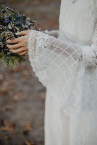 Novia 2019 vestido medieval boho puntilla cola quita y pon