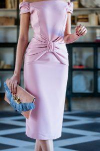 vestido fiesta rosa lapiz bardot