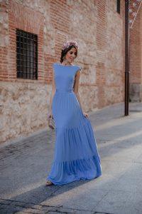 Vestido largo azul celeste invitada boda