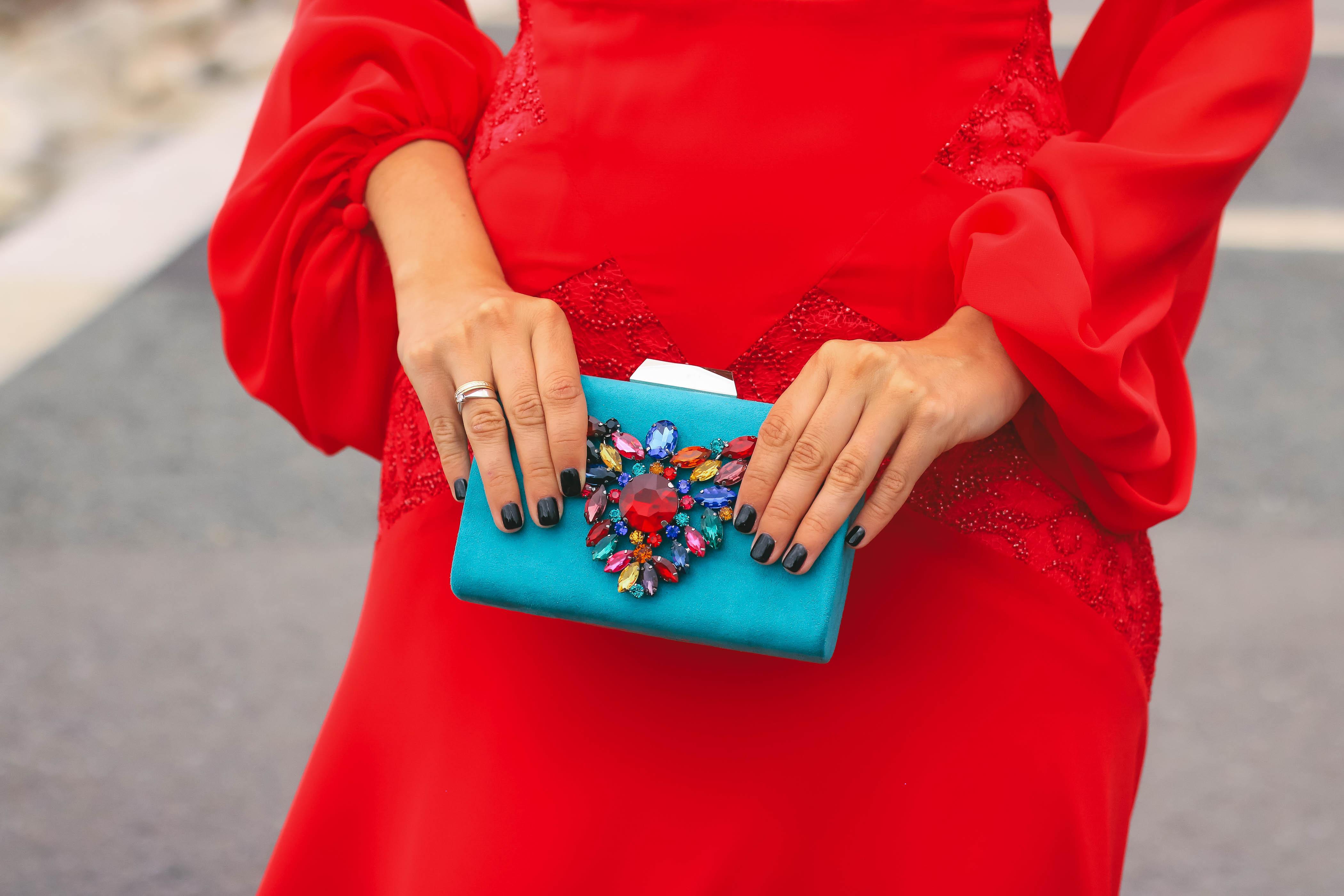 Bolso turquesa joya invitada