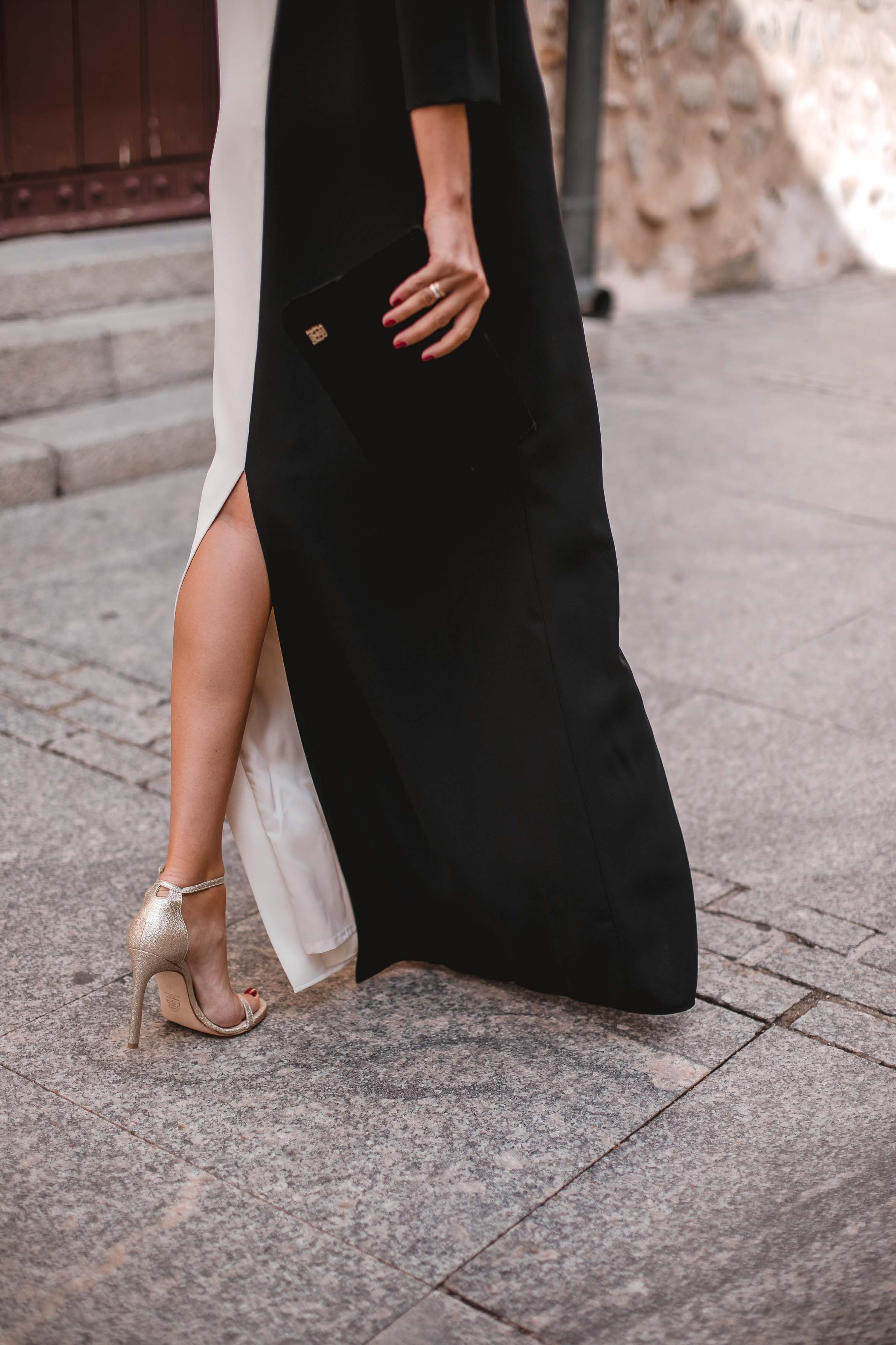 Look invitada boda blanco negro