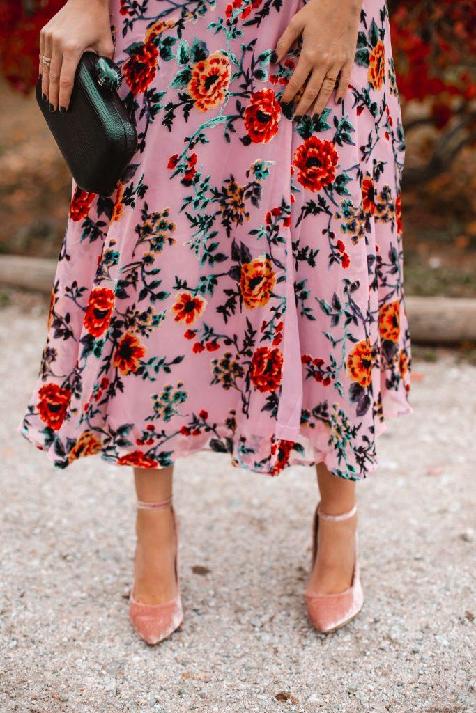 vestido kimono rosa estampado terciopelo