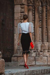 conjunto falda blusa abullinada boda