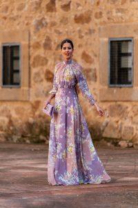 vestido largo estampado invitada 2020