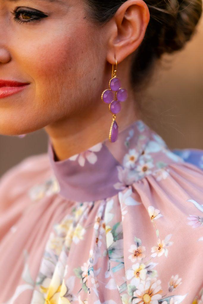 pendientes invitada boda malva lila