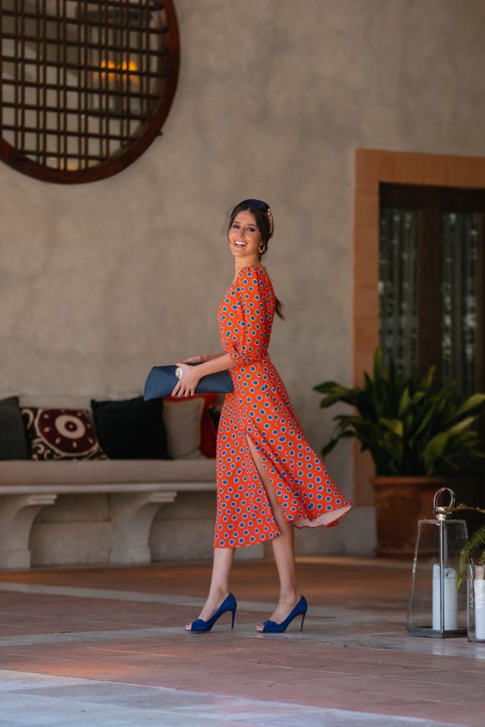 invitada perfecta vestido naranja estampado