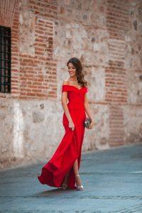 Vestido rojo largo invitada boda