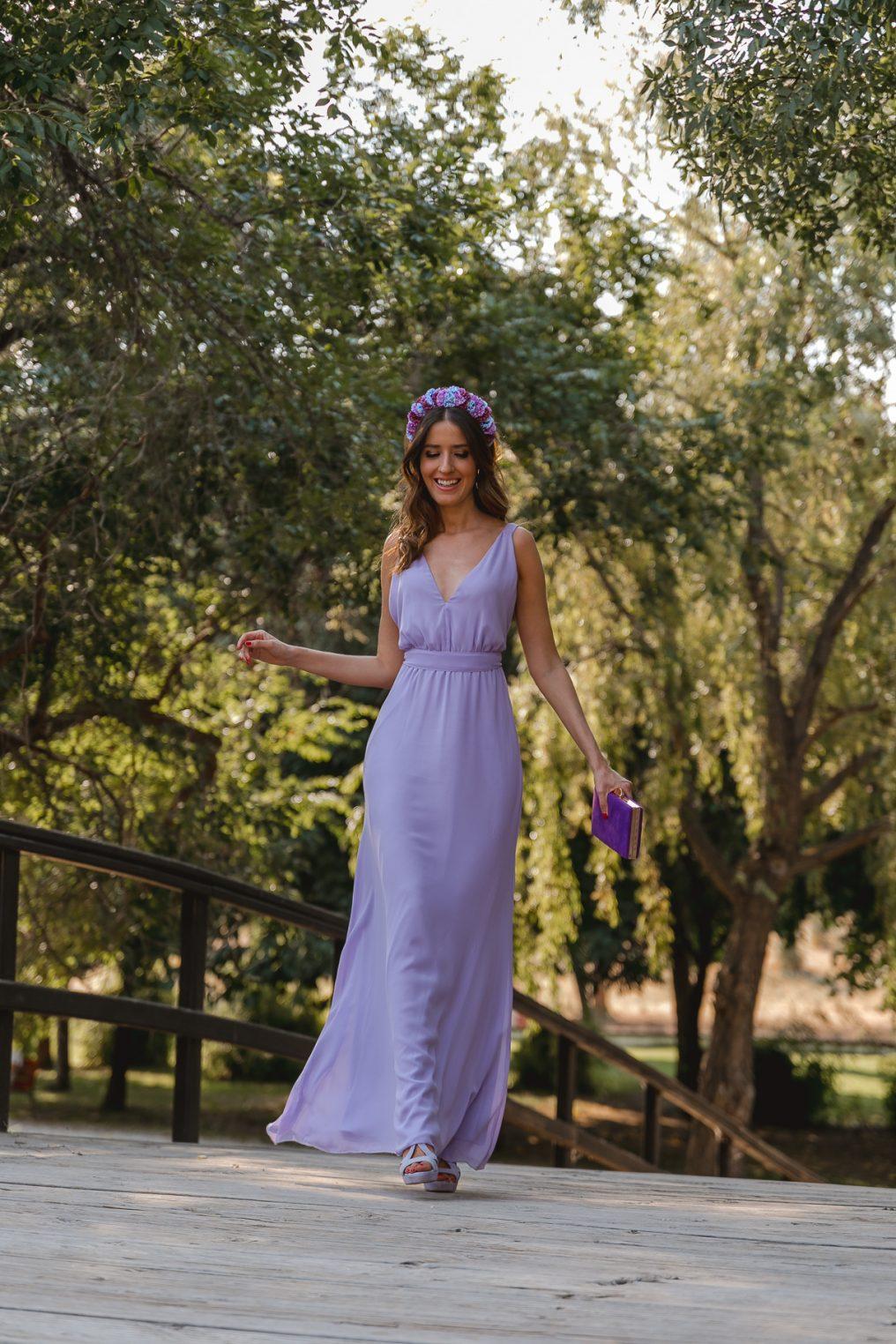 Sandra majada vestido lila largo