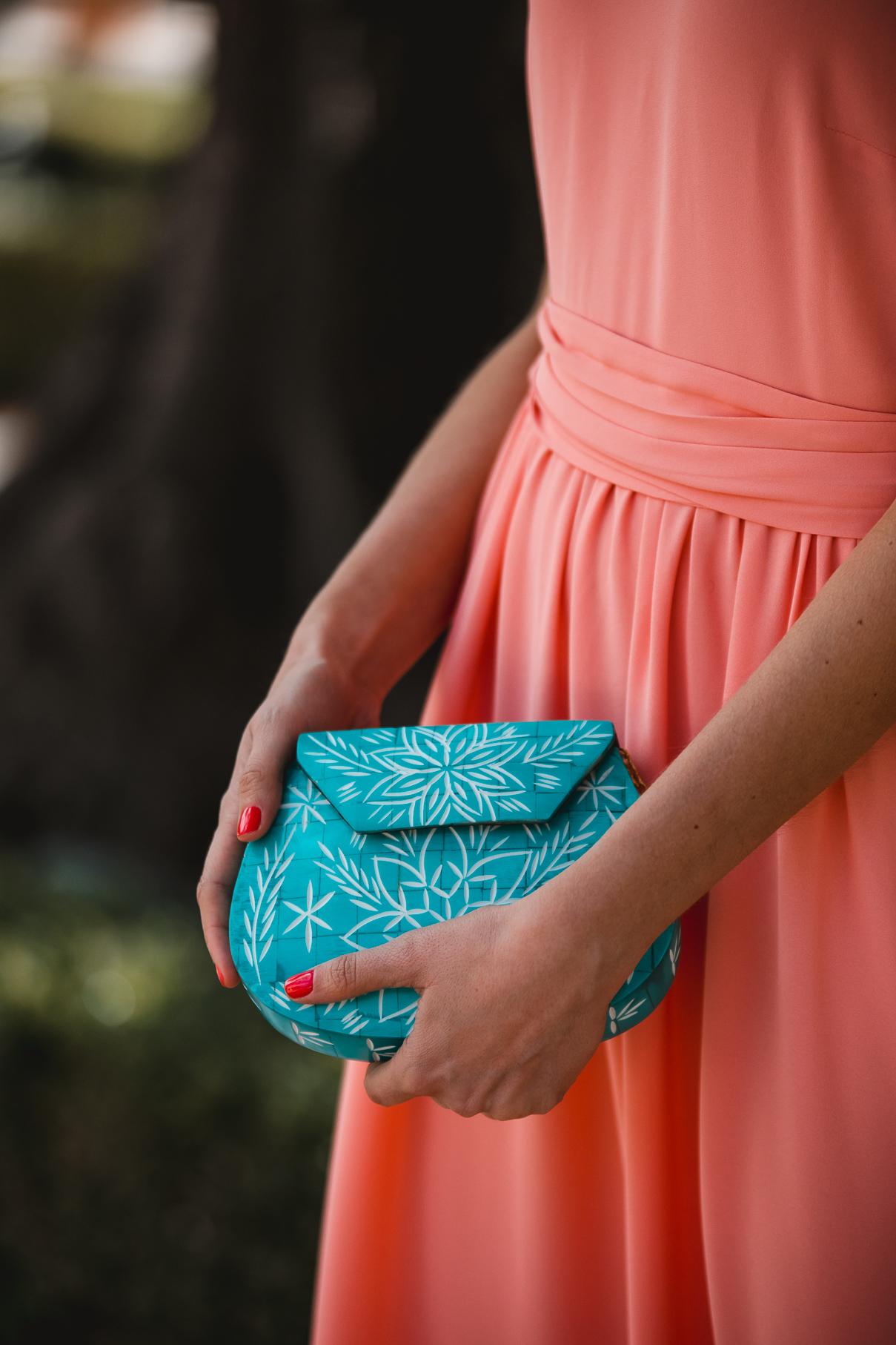 bolso turquesa invitada boda