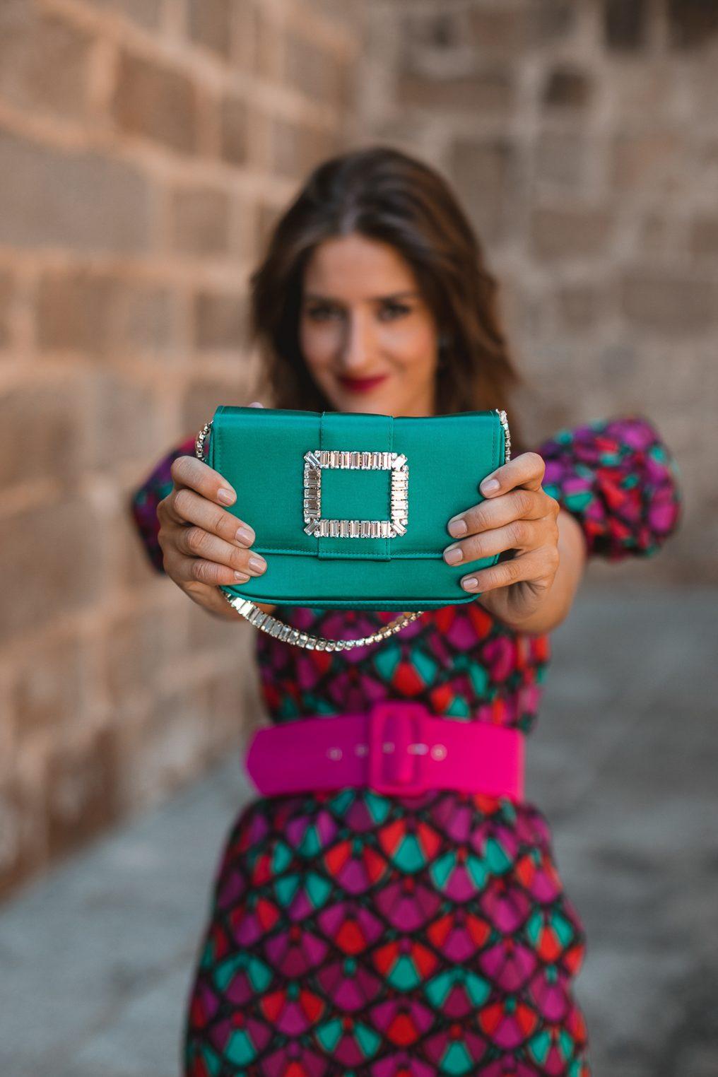 cartera verde esmeralda invitada