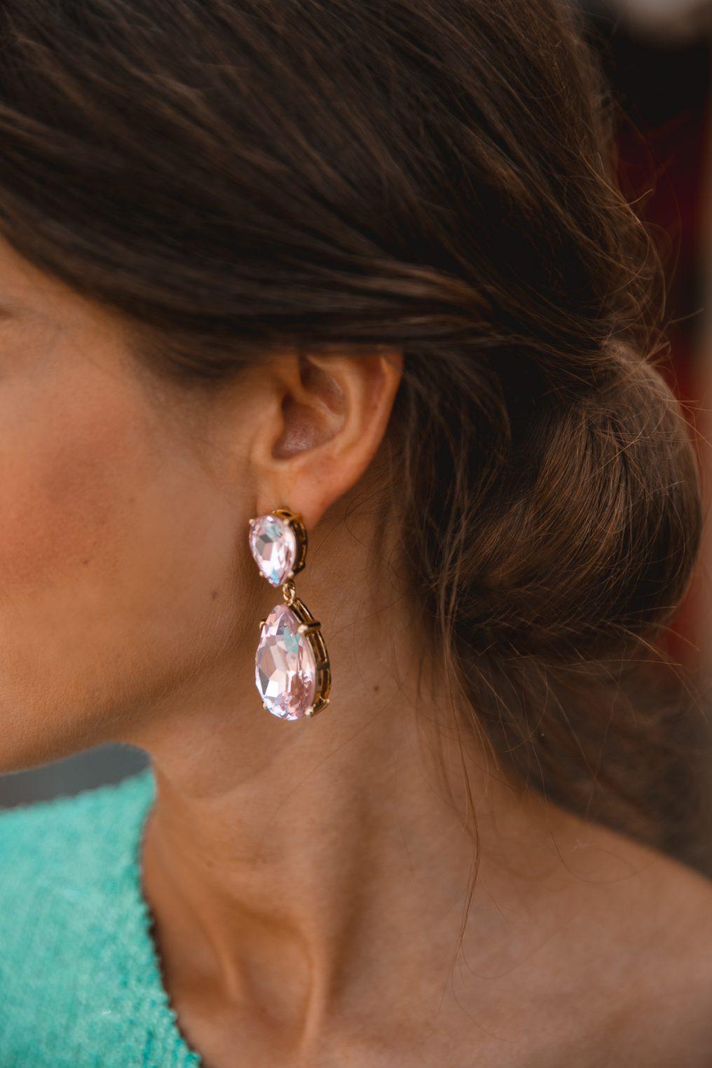 pendientes rosas cristal