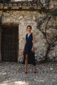 look invitada boda 2020 vestido marino