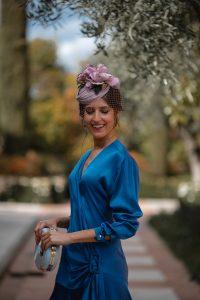 invitada perfecta vestido azul vintage