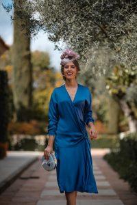 vestido midi azul invitada vintage