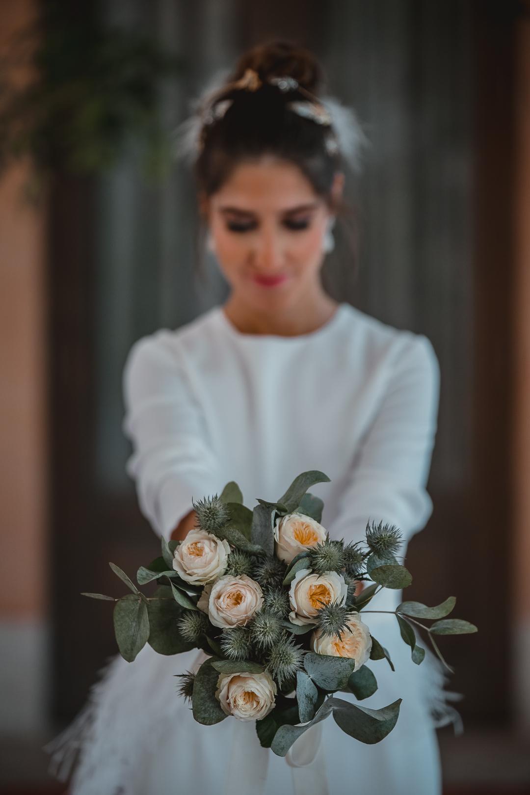 ramo blanco novia