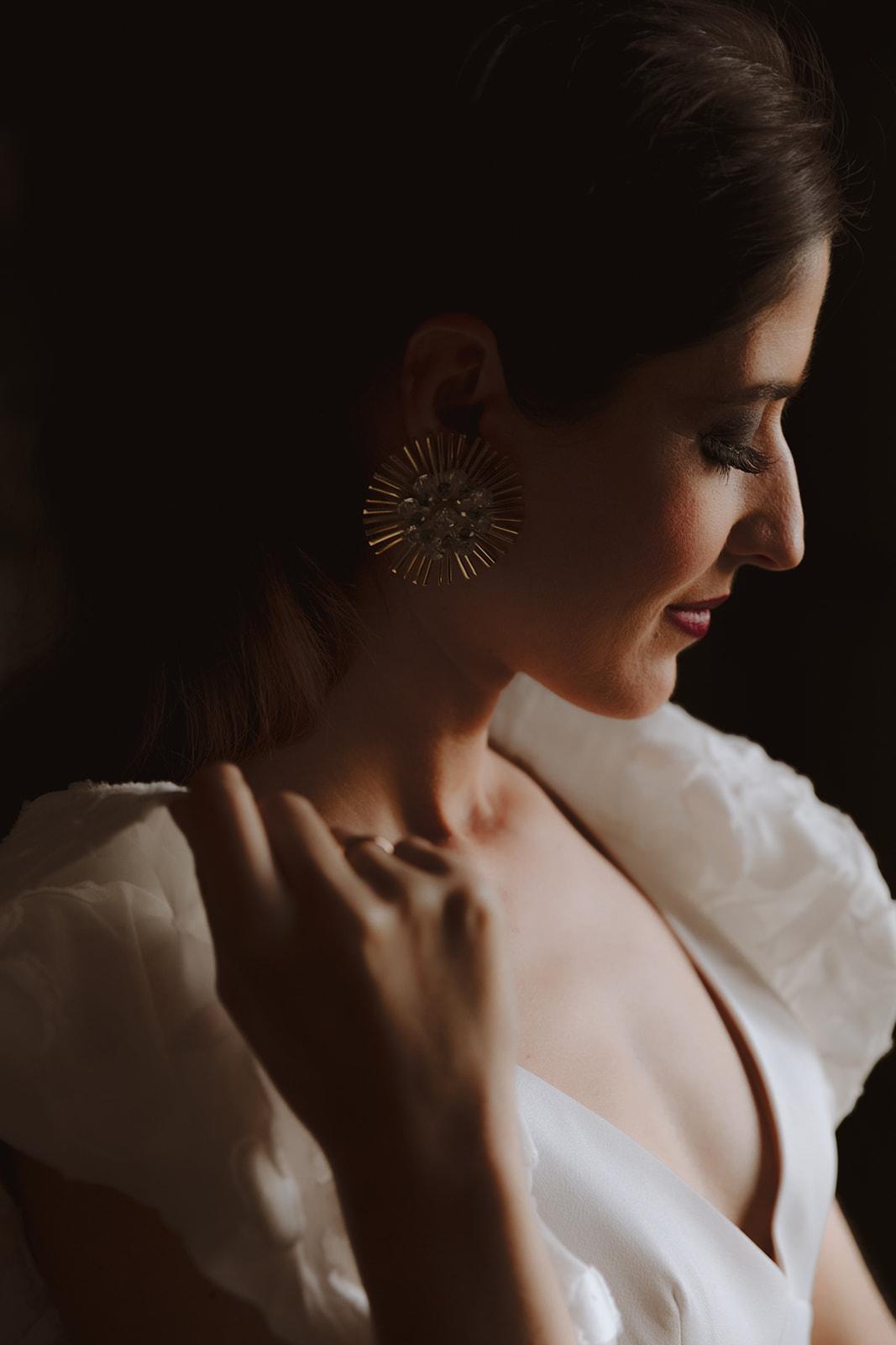 pendientes dorados novia