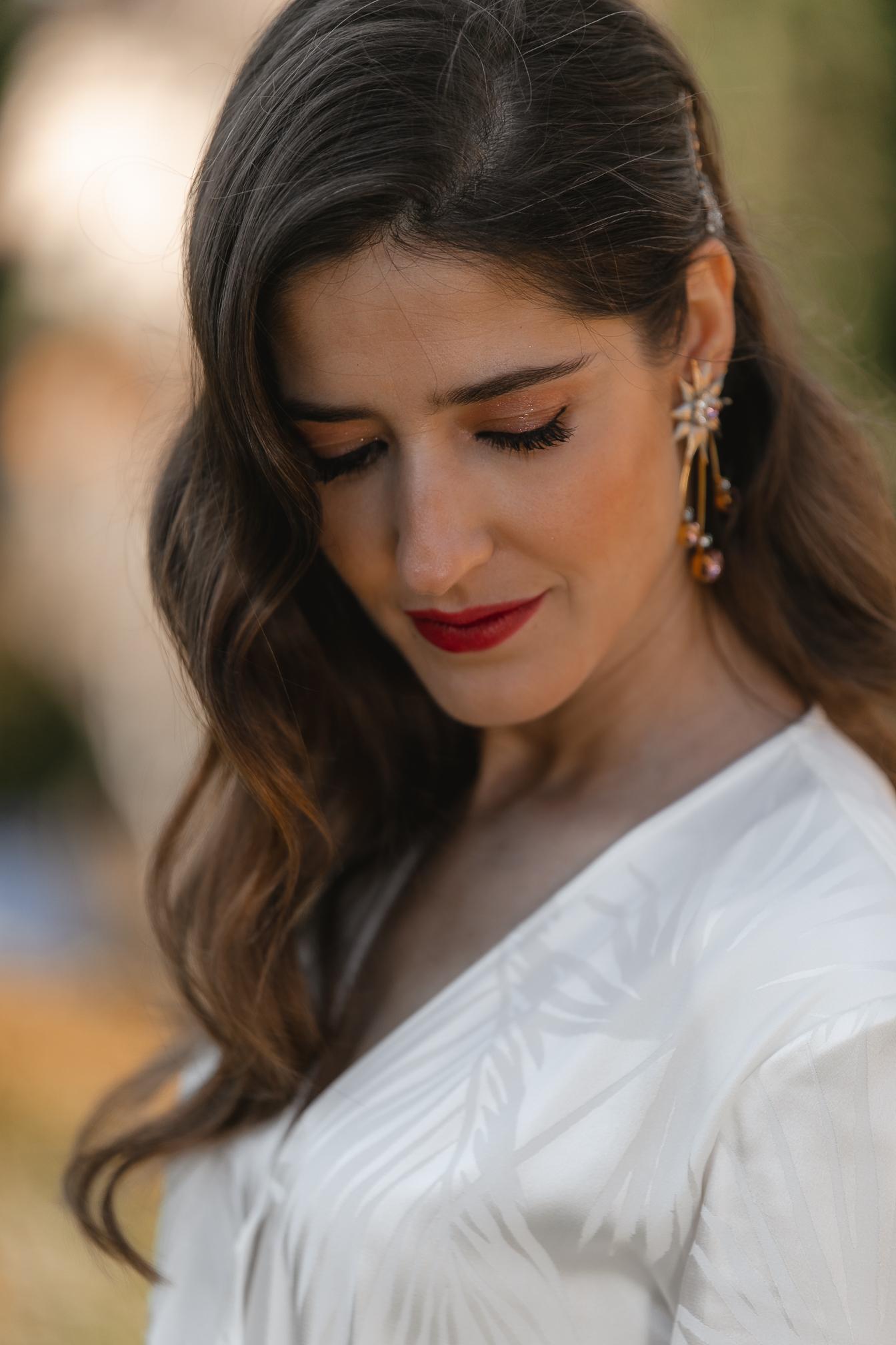 maquillaje novia labios rojos