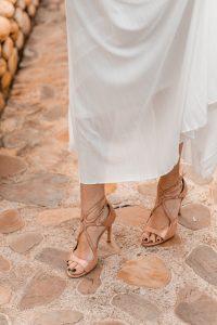 sandalias rosa dorada novia