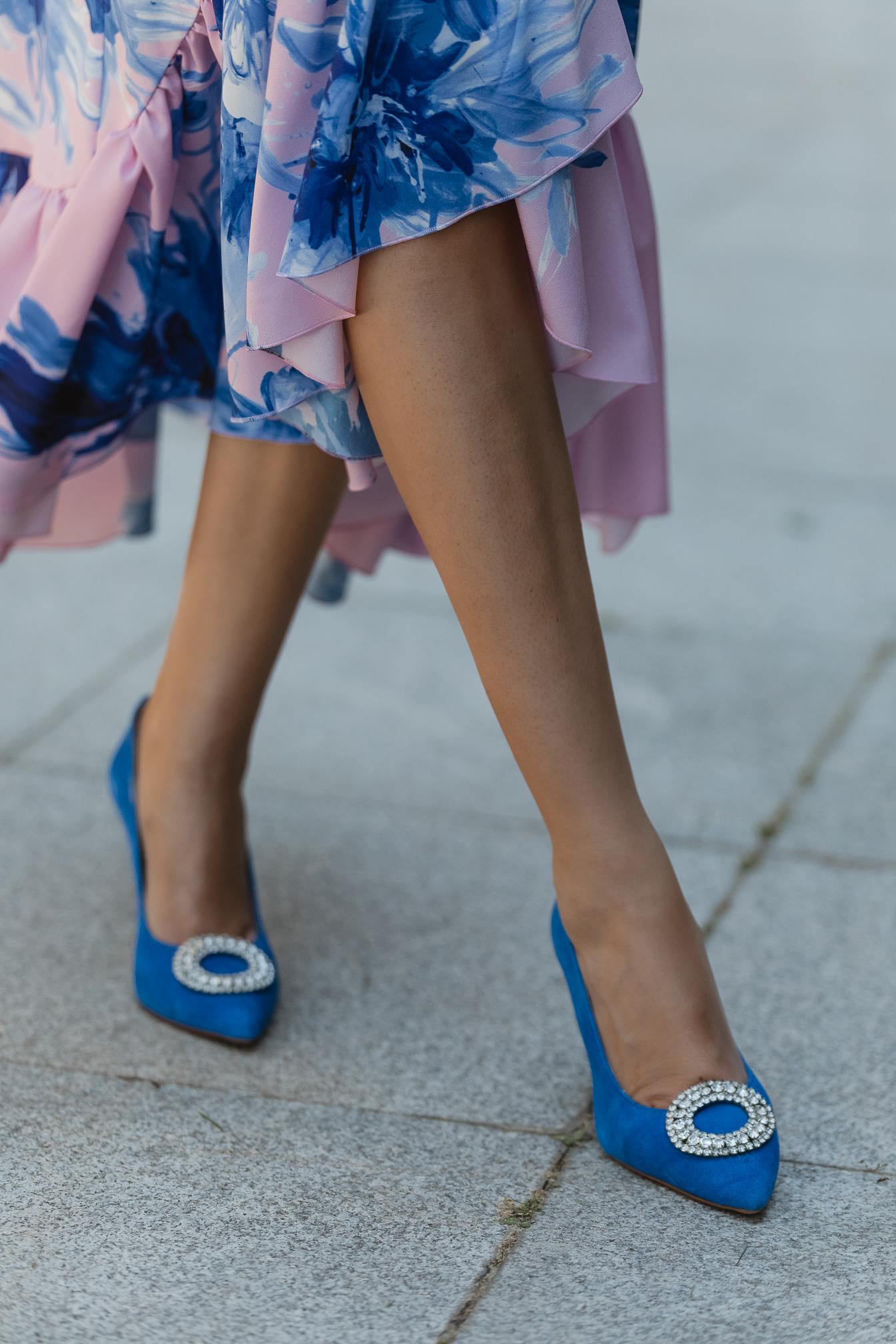 zapatos azules invitada novia