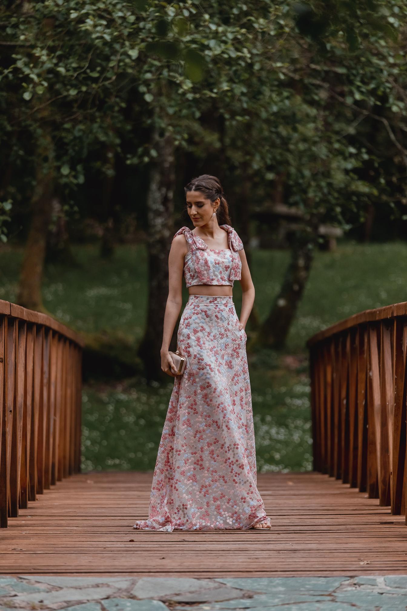Conjunto falda larga crop top boda