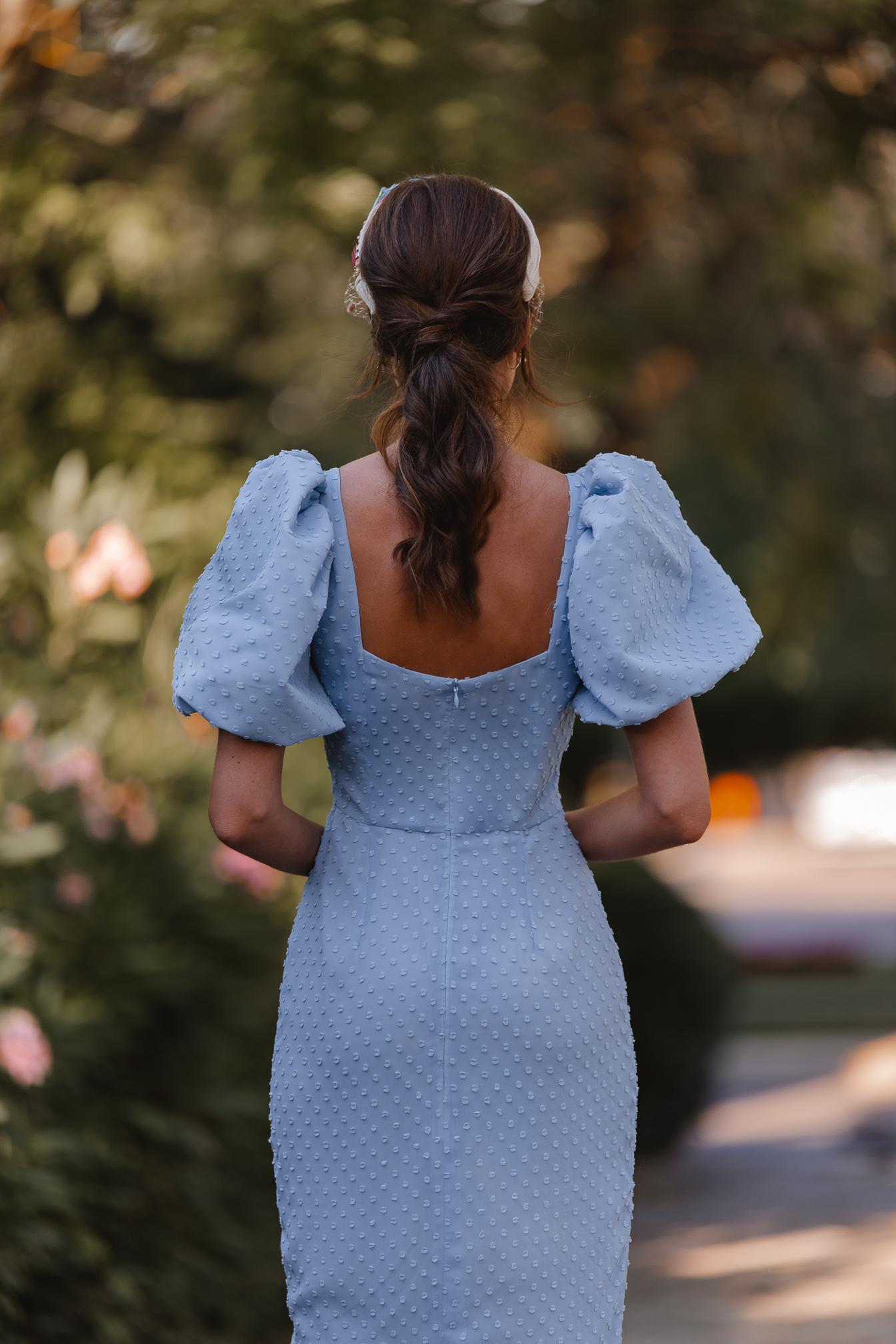 vestido invitada boda plumeti mangas abullonada