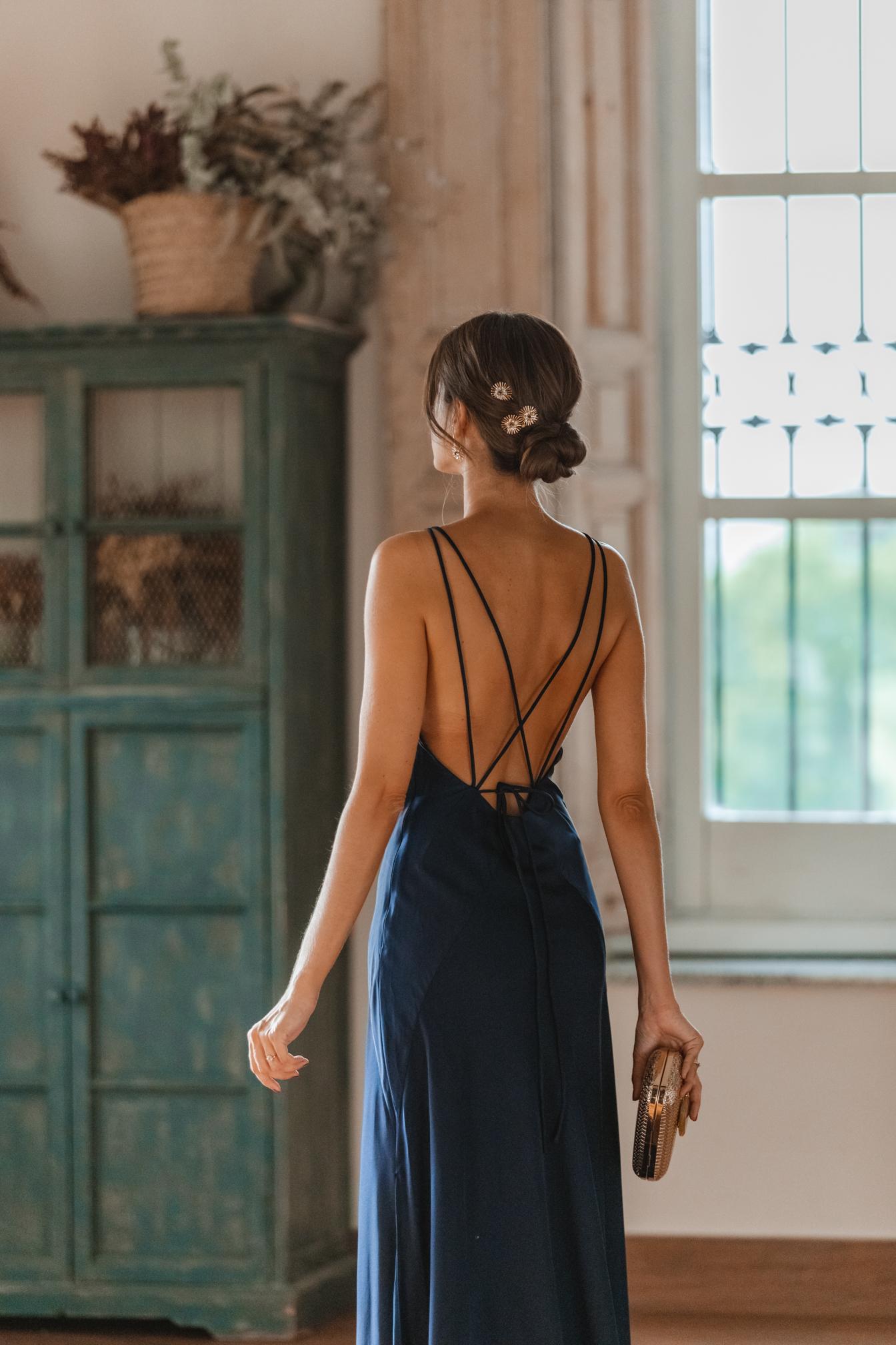 invitada perfecta vestido largo azul marino