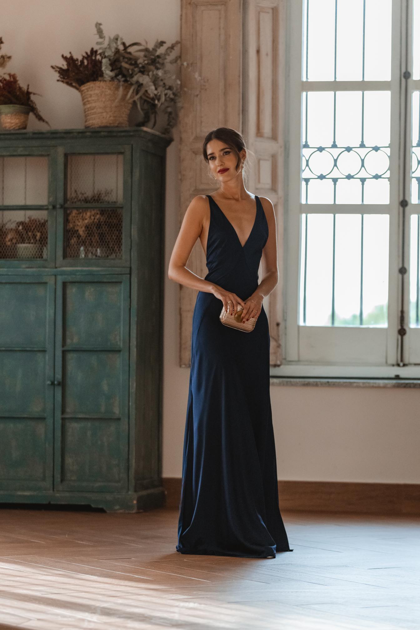 perfecta vestido largo azul marino