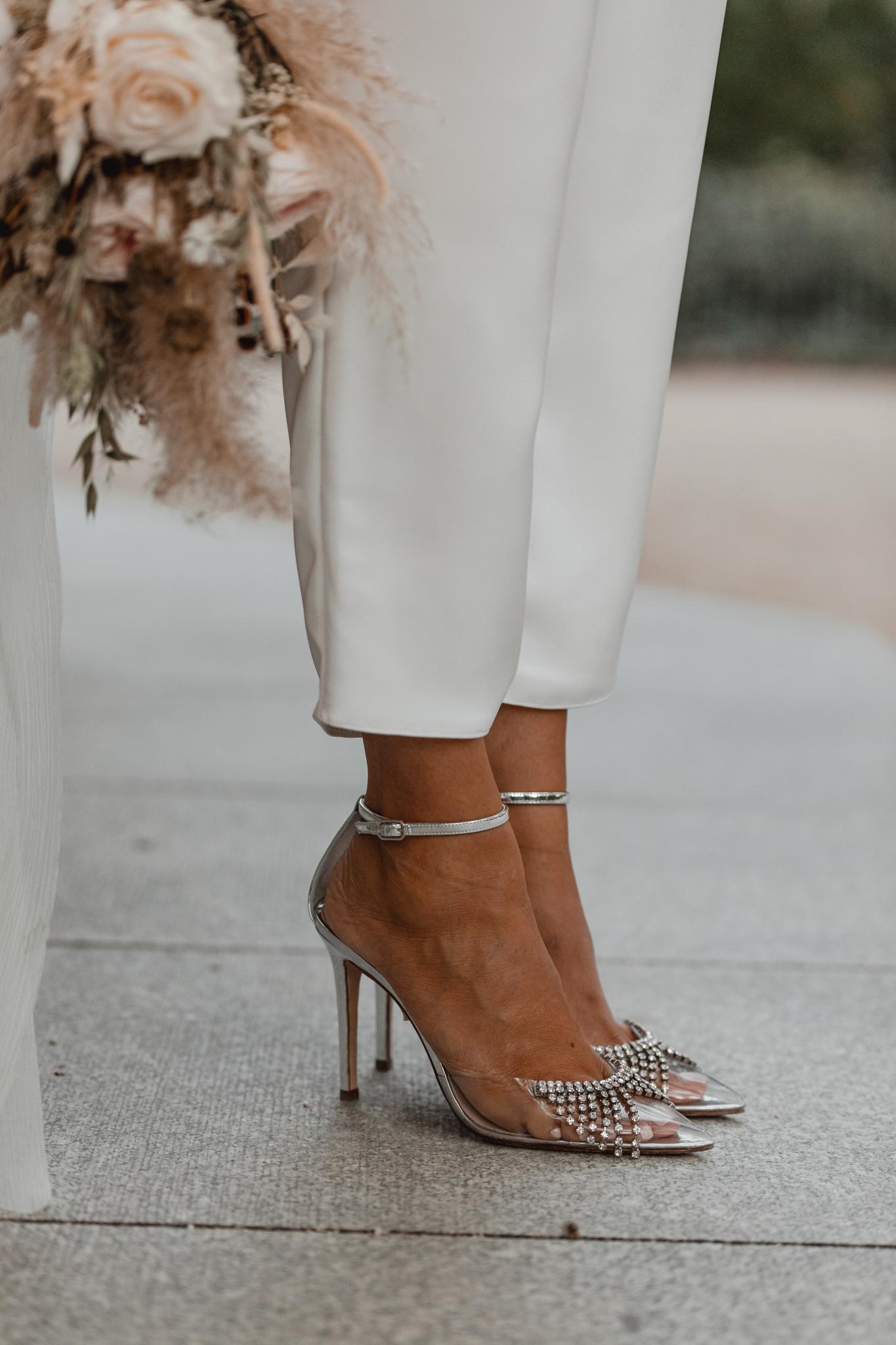 zapatos novia vinilo plata