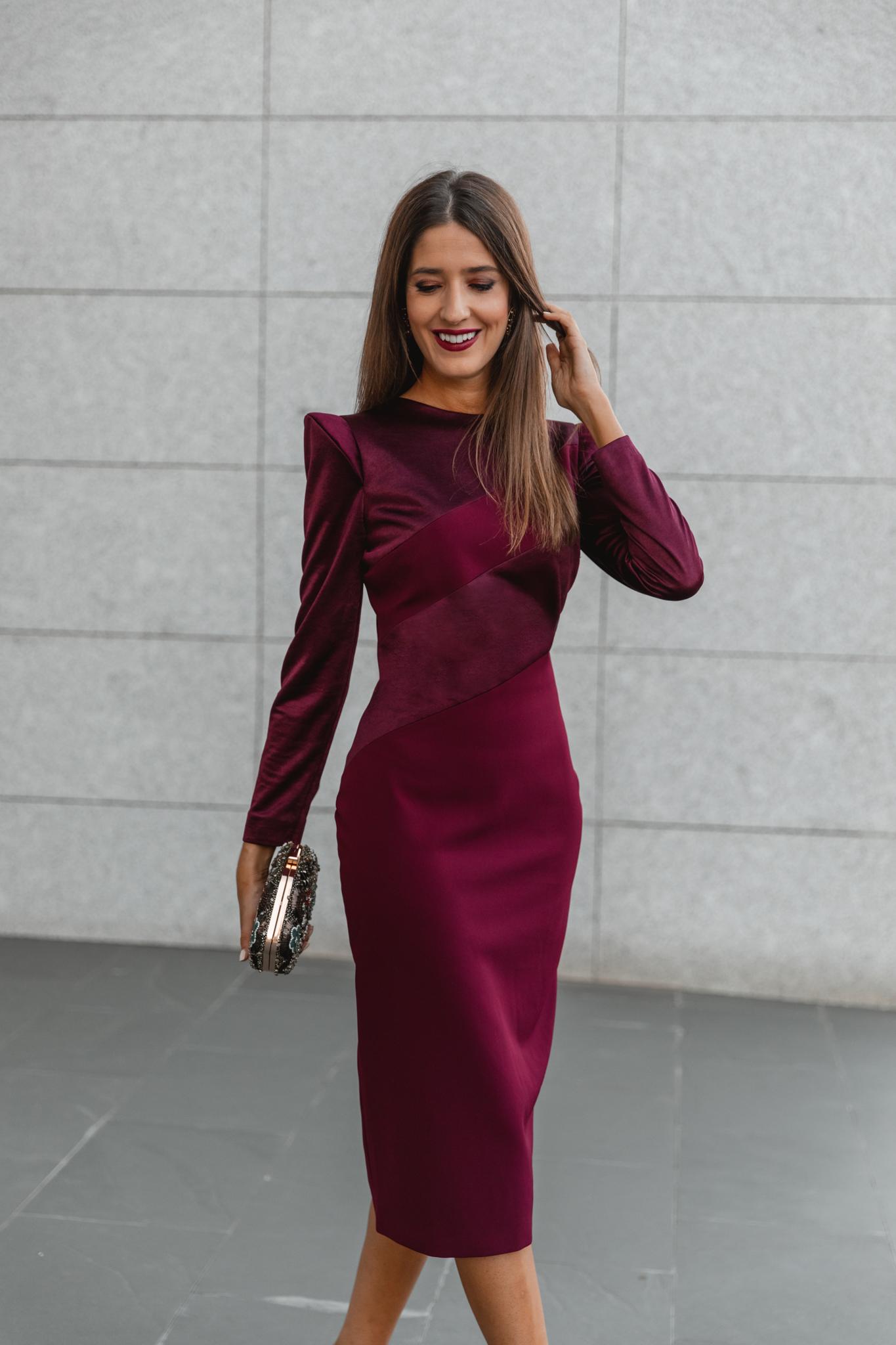 invitada perfecta vestido burdeos