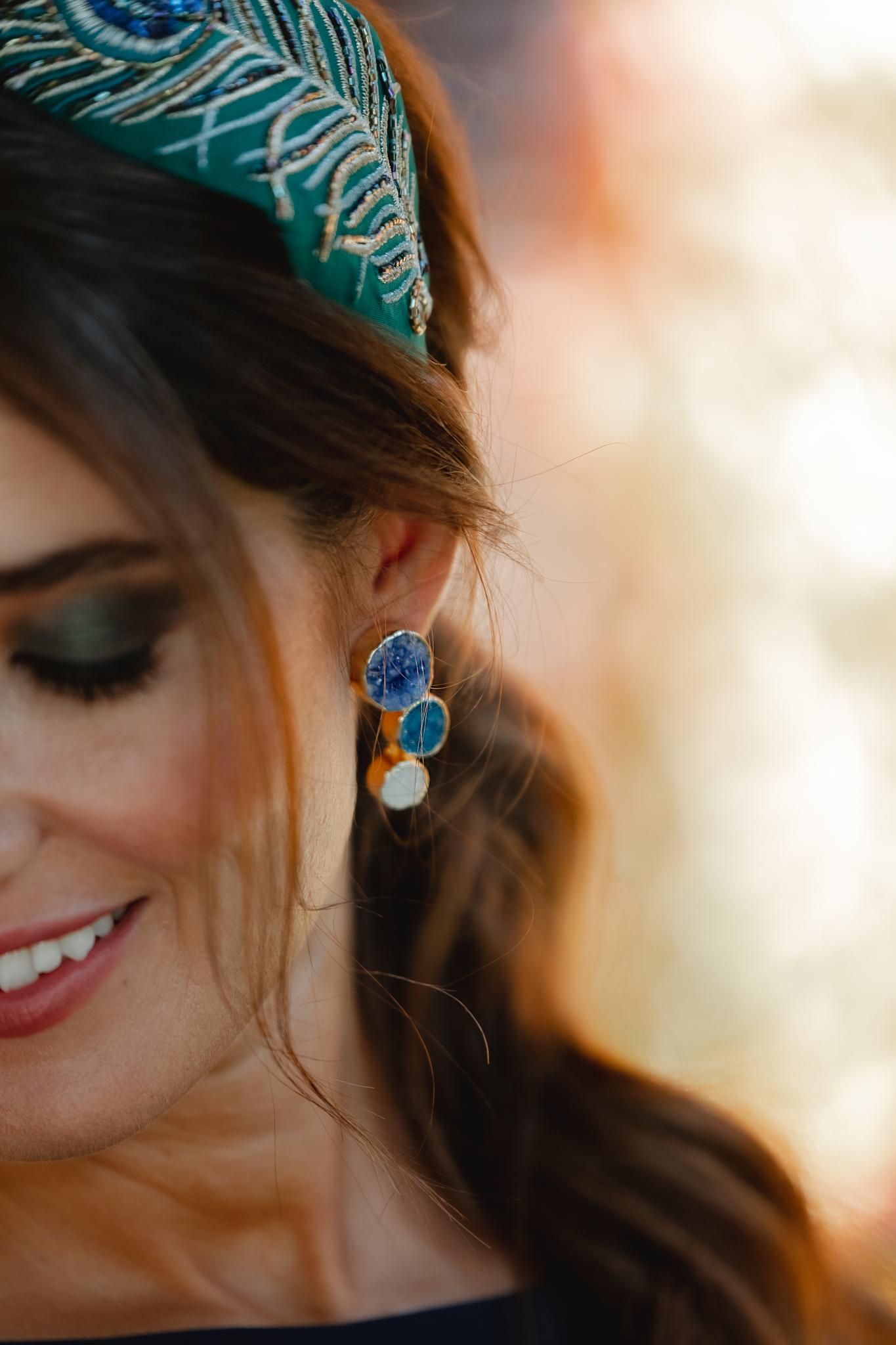 pendiente azul invitada boda