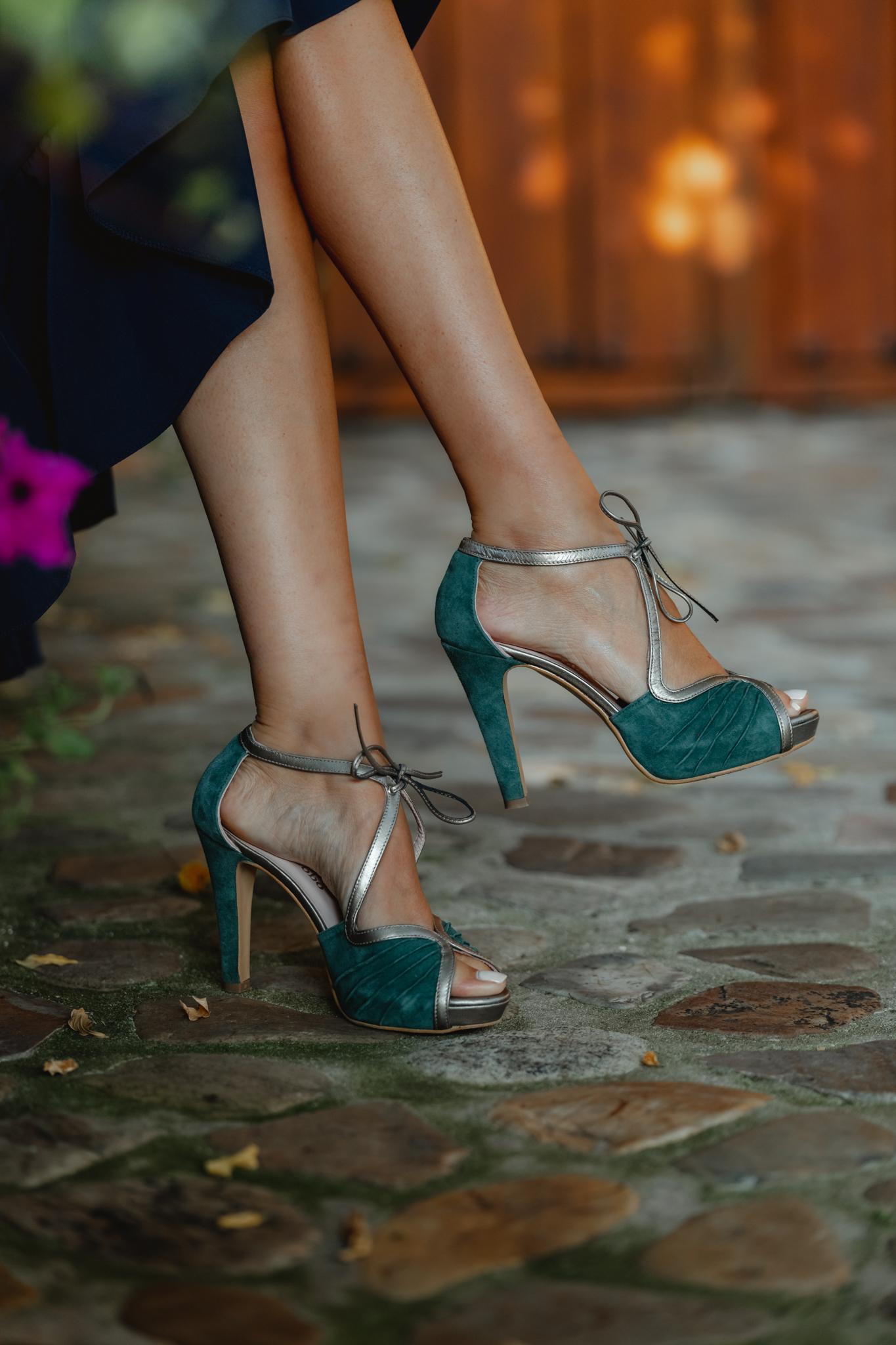 Sandalias verdes comodas invitada