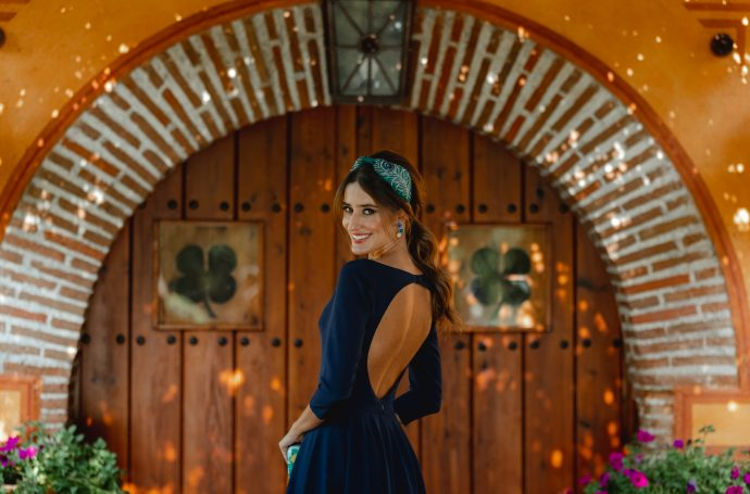 invitada boda otoño vestido azul