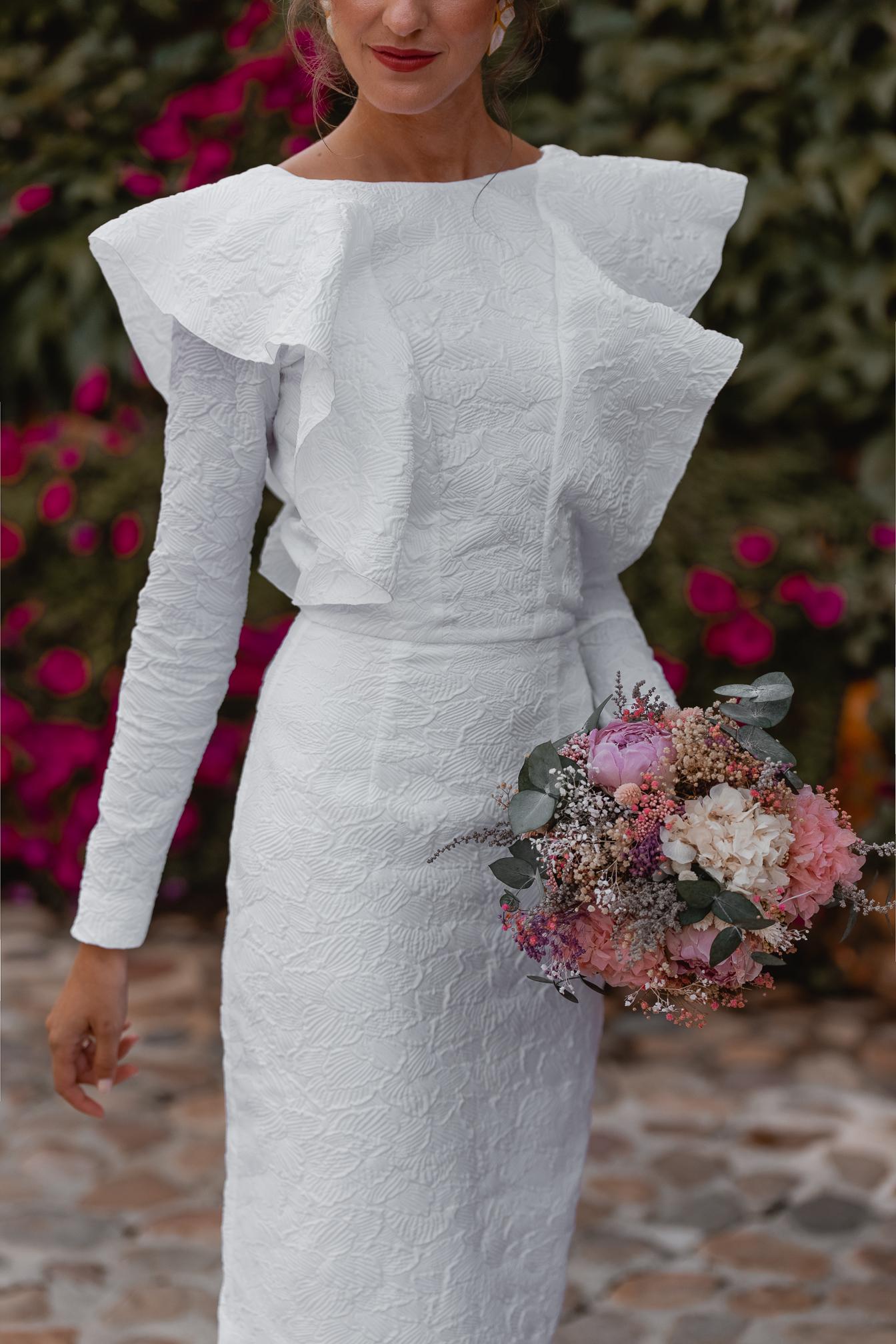 vestido novia lowcost volantes