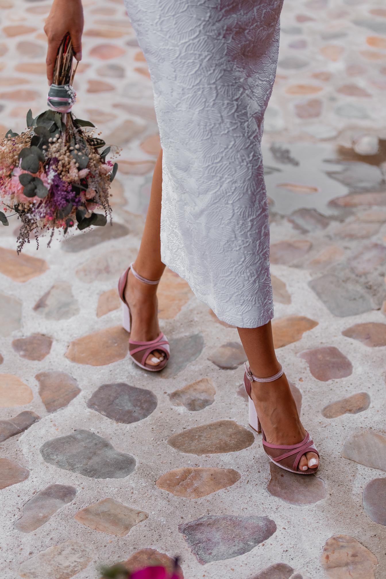 sandalias terciopelo rosa novia