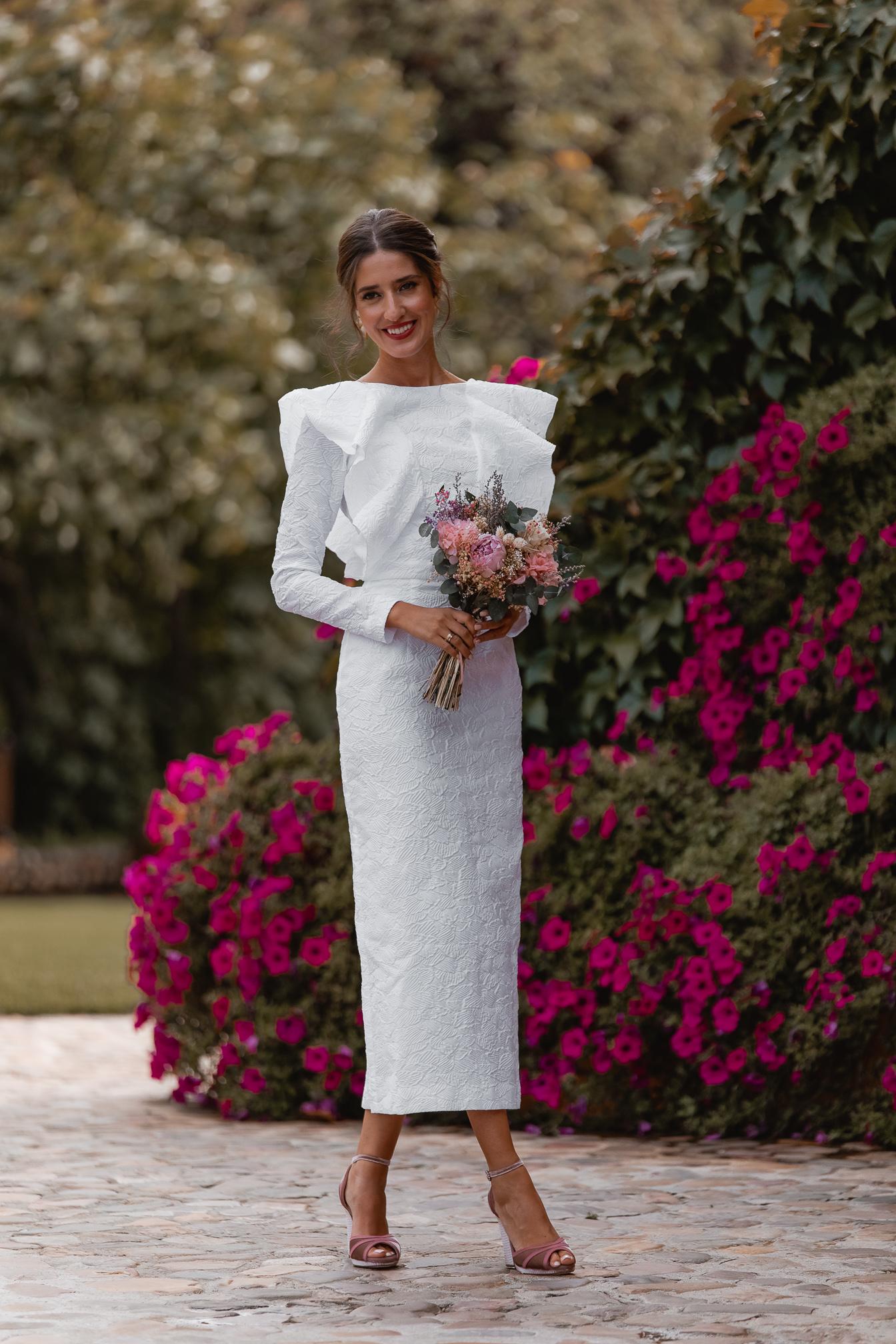 vestido novia blanco boda civil